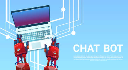 smart: Chat Bot Hands Using Laptop Computer, Robot Virtual Assistance Of Website Or Mobile Applications, Artificial Intelligence Concept Flat Vector Illustration
