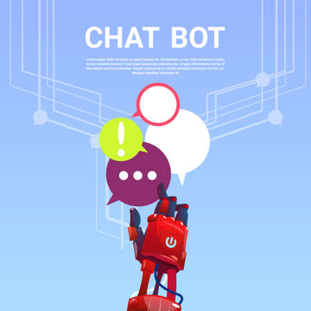 virtual assistant: Chat Bot Robot Virtual Assistance Of Website Or Mobile Applications, Artificial Intelligence Concept Flat Vector Illustration