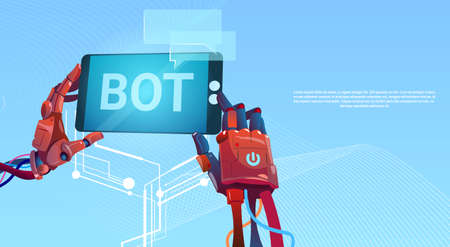 Chat Bot Hands Using Cell Smart Phone, Robot Virtual Assistance Of Website Or Mobile Applications, Artificial Intelligence Concept Flat Vector Illustration