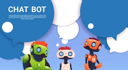 Chat Bot Robot Virtuele Hulp van Website of Mobiele Toepassingen, de Vlakke Vectorillustratie van de Kunstmatige intelligentieconcept