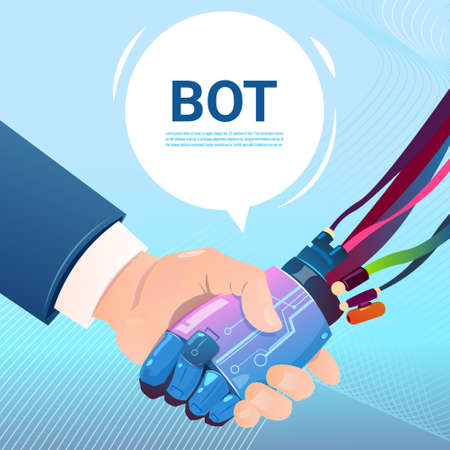 Chat Bot Hand Shaking With People Robot Virtual Assistance Of Website Or Mobile Applications, Artificial Intelligence Concept Flat Vector Illustration Illustration