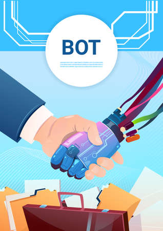 mobile website: Chat Bot Hand Shaking With People Robot Virtual Assistance Of Website Or Mobile Applications, Artificial Intelligence Concept Flat Vector Illustration Illustration
