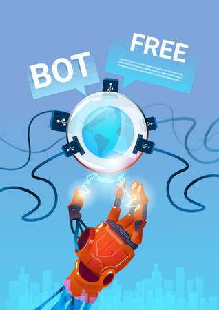mobile website: Chat Bot Free Robot Virtual Assistance Of Website Or Mobile Applications, Artificial Intelligence Concept Flat Vector Illustration