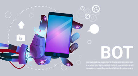 mobile website: Chat Bot Hands Using Cell Smart Phone, Robot Virtual Assistance Of Website Or Mobile Applications, Artificial Intelligence Concept Flat Vector Illustration