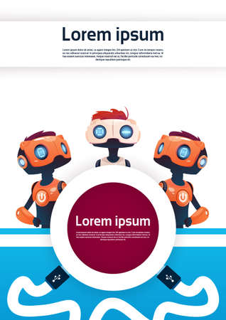 virtual assistant: Chat Bot Free Robot Virtual Assistance Of Website Or Mobile Applications, Artificial Intelligence Concept Flat Vector Illustration