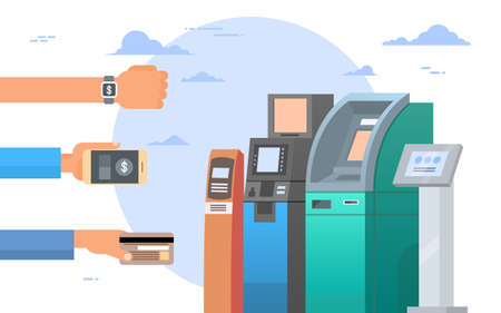 Manos sosteniendo la tarjeta de crédito y celulares Teléfonos inteligentes Atm Terminal Machine Concepto de pago móvil Ilustración vectorial plana Ilustración de vector