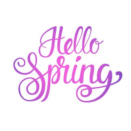 Hello Spring Season Text Banner Over White Background Flat Vector Illustration Illustration