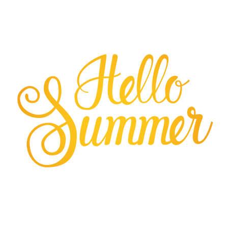 Hallo Sommer Saison Text Banner über weißem Hintergrund flache Vektor-Illustration Vektorgrafik