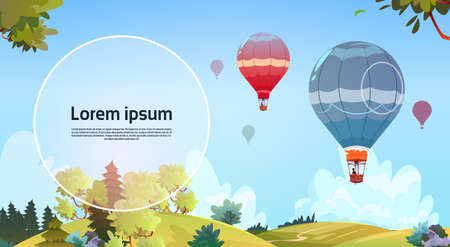 clouds: Colorful Air Balloons Flying In Sky Over Summer Landscape Flat Vector Illustration