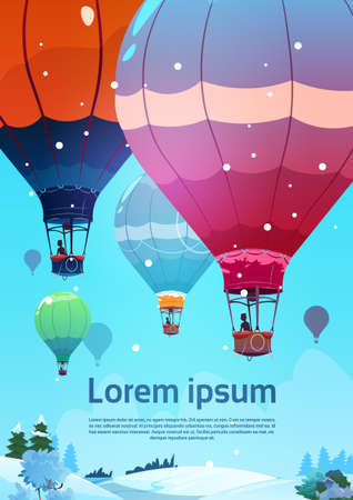 Colorful Air Balloons Flying In Sky Over Winter Snow Landscape Flat Vector Illustration Illustration