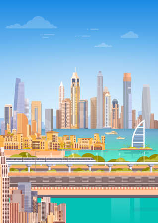 Subway Over City Skyscraper View Cityscape Background Skyline Flat Vector Illustration 向量圖像