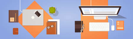 Workplace Desk Top Angle View Laptop And Desktop Computer Flat Vector Illustration