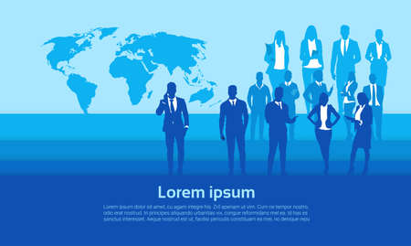 Silhouette Businesspeople Group Over World Map Business Man And Woman Team Vector Illustration Ilustração