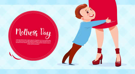 Happy Mother Day, Son Embracing Mom, Spring Holiday Greeting Card Banner Flat Vector Illustration