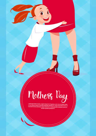 Happy Mother Day, Daughter Embracing Mom, Spring Holiday Greeting Card Banner Flat Vector Illustration