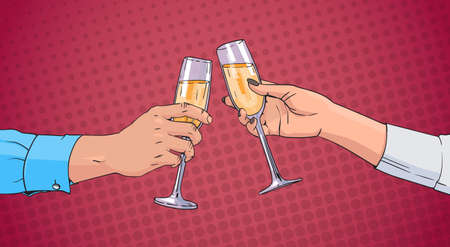 Couple Hands Clinking Glass Of Champagne Wine Toasting Pop Art Retro Pin Up Background Vector Illustration Illustration