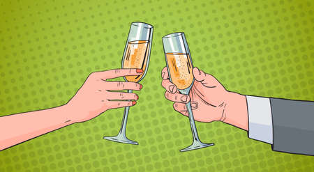 Couple Hands Clinking Glass Of Champagne Wine Toasting Pop Art Retro Pin Up Background Vector Illustration Çizim