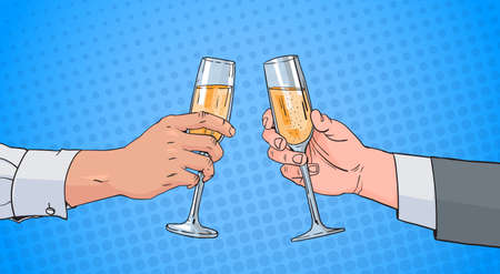 gay men: Male Couple Hands Clinking Glass Of Champagne Wine Toasting Pop Art Retro Pin Up Background Vector Illustration