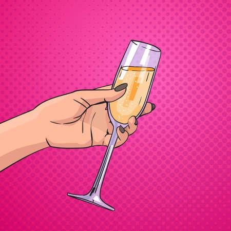Female Hand Holding Glass Champagne Wine Pop Art Retro Pin Up Background Vector Illustration Illustration