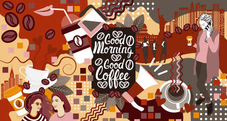 aroma: Two Girls Over Coffee Cup Background Break Breakfast Drink Vector Illustration