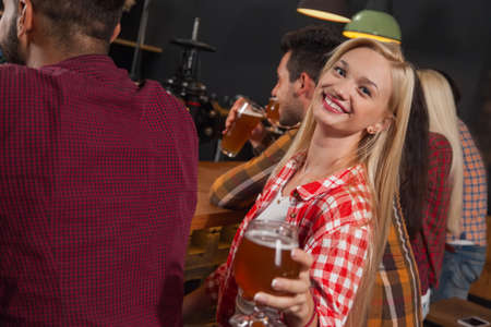 patrick: Young People Group In Bar, Girl Sitting At Wooden Counter Pub, Drink Beer Party Celebration