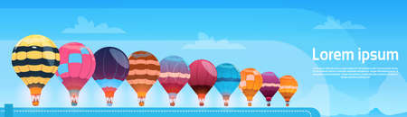 hot: Colorful Air Balloons Flying In Day Sky Banner Flat Vector Illustration Illustration