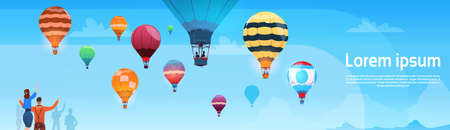 hot: People Looking At Colorful Air Balloons Flying In Sky Banner Flat Vector Illustration Illustration