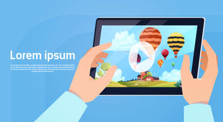 tablet pc in hand: Hand Holding Modern Tablet Computer Watch Video Of Colorful Air Balloons Flying In Sky Flat Vector Illustration