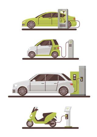 Elektrische Autos und Roller an der Ladestation Eco freundliche Fahrzeug-Set flache Vektor-Illustration
