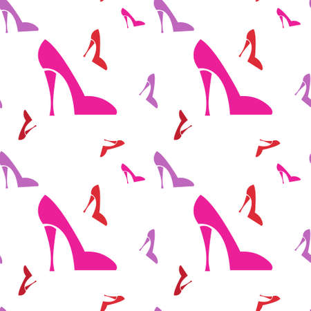 Pink Female Shoe Seamless Pattern Vector Illustration Illustration