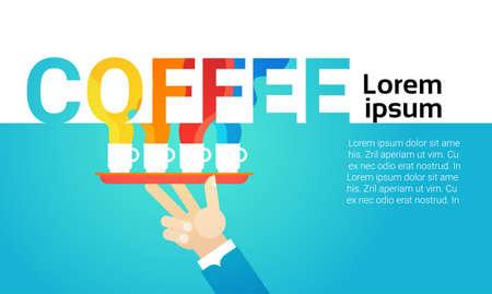 Hand Hold Coffee Cup Break Breakfast Drink Beverage Vector Illustration Illustration