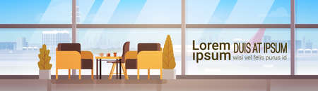 departure board: Airport Waiting Hall Departure Terminal Interior Check In Flat Vector Illustration. Illustration