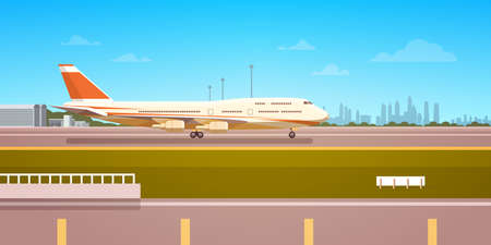departure board: Airport Terminal With Aircraft Flying Plane Taking Off Flat Vector Illustration. Illustration