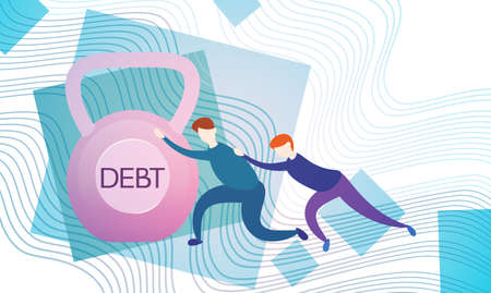 investment concept: Business Man Push Weight Credit Debt Finance Crisis Concept Flat Vector Illustration