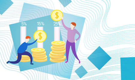 investment concept: Business People With Coin Money Currency Rich Businesspeople Finance Success Flat Vector Illustration