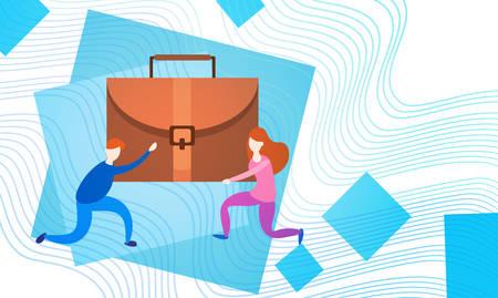 woman handle success: Business People Group Team Hold Suitcase Professional Portfolio Flat Vector Illustration Illustration