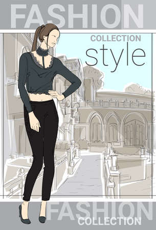 happy shopper: Fashion Collection Style Model Girl Wear Elegant Clothes In Street Sketch Vector Illustration