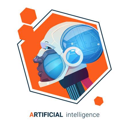 Artificial Intelligence Modern Robot Brain Technology Flat Vector Illustration