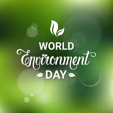 Earth World Environment Day Ecology Protection Holiday Greeting Card Flat Vector Illustration Illustration