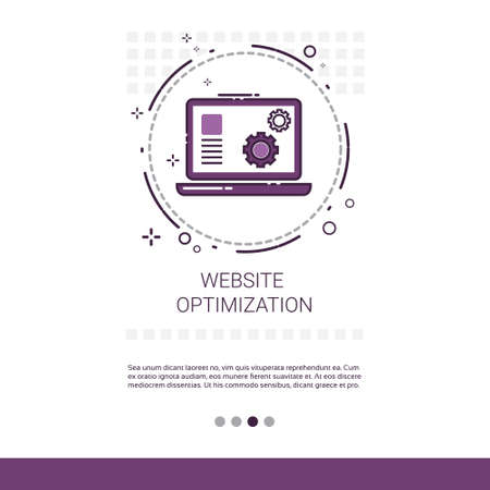optimizer: Web Optimization Software Development Computer Programming Device Technology Banner With Copy Space Vector Illustration