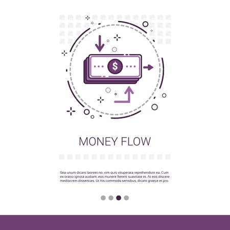 investment concept: Money Flow Business Investment Banner With Copy Space Vector Illustration