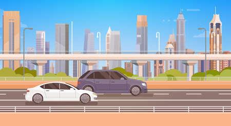 Cars Driving City Street Panorama Urban Road Flat Vector Illustration