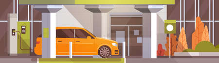 Electrical Car At Charging Station Eco Friendly Vehicle In City Flat Vector Illustration