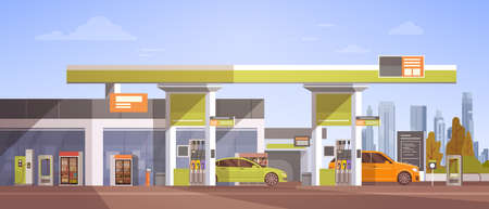 petrol pump: Car Fueling At Gas Petrol Station Flat Vector Illustration