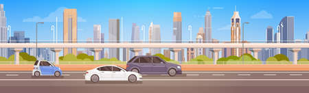 Cars Driving City Street Panorama Urban Road Flat Vector Illustration