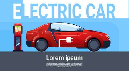 filling station: Electrical Car At Charging Station Eco Friendly Vehicle In City Flat Vector Illustration