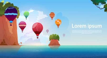 Air Balloons Flying Over Summer Sea Landscape Mountain Rocks Blue Water Flat Vector Illustration