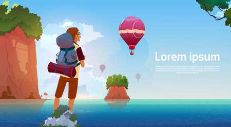 Man Backpacker Enjoy View In Mountains Lake Traveler On Summer Adventure Vacation Concept Flat Vector Illustration