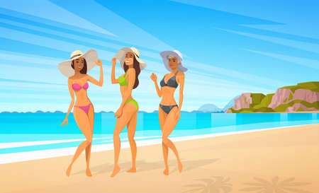 Three Woman In Bikini On Beach, Sexy Girls Wear Hat On Summer Sea Vacation Flat Vector Illustration Çizim