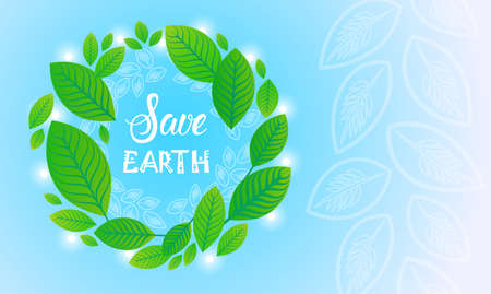 Save Earth World Environment Day Ecology Protection Holiday Greeting Card Flat Vector Illustration